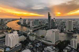Bangkok city bird's-eye view in beautiful sky