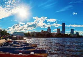 City embankment Eekaterinburg sunny summer day photo