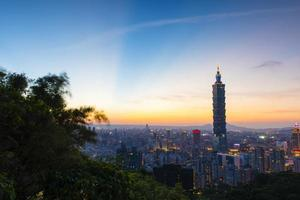 Ray of light on the Taipei blue sky photo