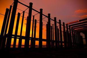 Foto de archivo - silueta del sitio de construcción