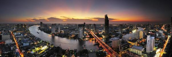 Panorama view of Bangkok , Thailand at dusk. photo