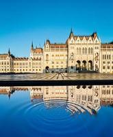 Vista frontal del edificio del Parlamento en Budapest con reflectio