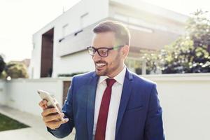 Salesman having phone call photo