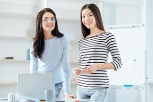 Successful female colleagues starting business