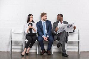 multiethnic young business people waiting for job interview
