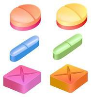 diferentes formas de pastillas medicinales vector