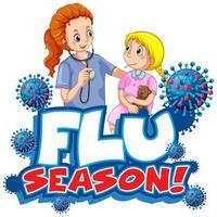 Flu season with doctor  vector