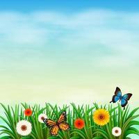 un jardín de flores con mariposas vector