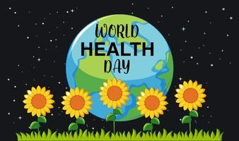 World health day with sunflowers  vector