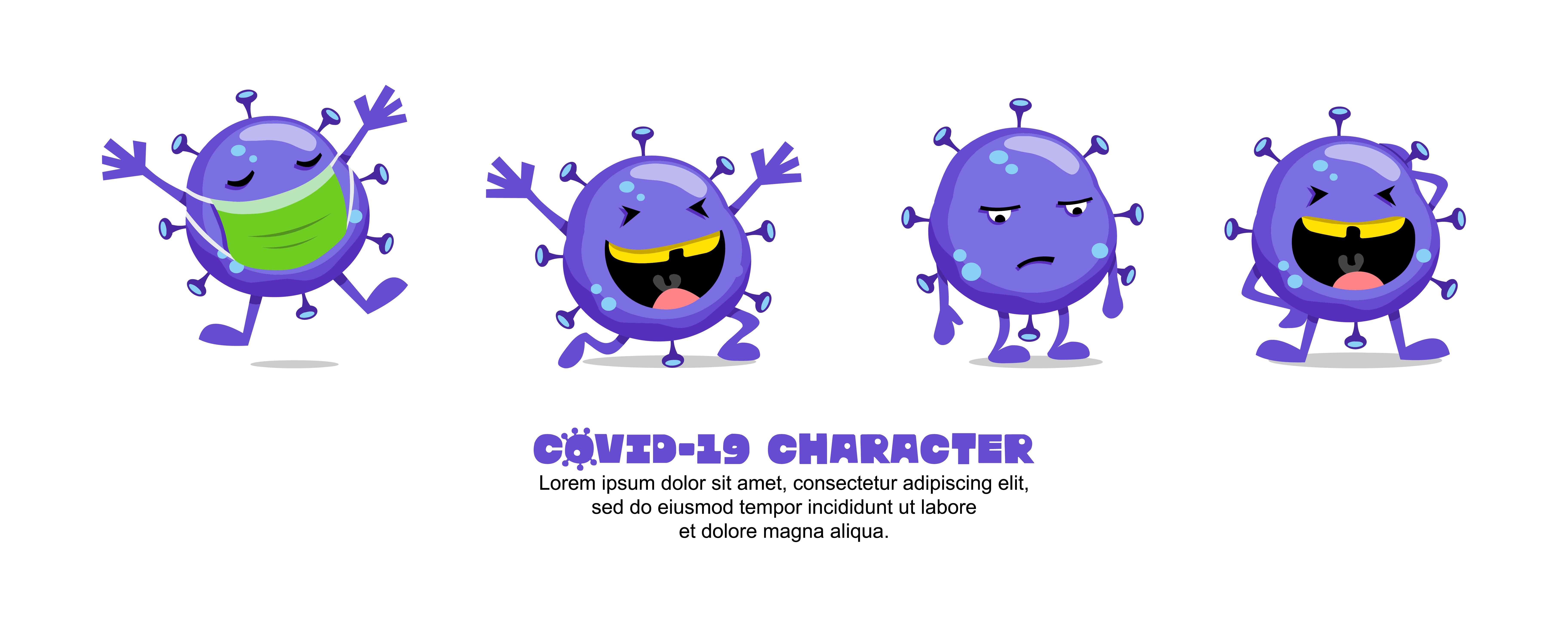 Blue Covid 19 Coronavirus Funny Cartoon Set Download Free Vectors Clipart Graphics Vector Art