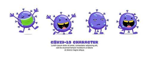 Blue Covid-19 Coronavirus funny cartoon set vector