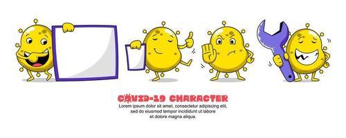Yellow Covid-19 Coronavirus Funny Character Set  vector