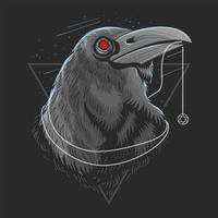 Black crow head design  vector