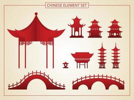 conjunto de arquitectura china vector