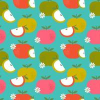 Retro apple and flower seamless pattern vector