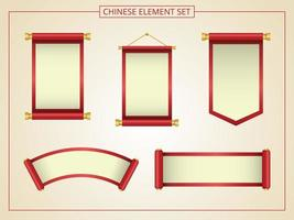 Chinese scroll with red and yellow  vector