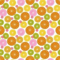 Retro citrus floral seamless pattern vector