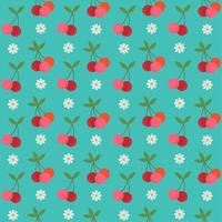 Retro cherry and flower seamless pattern vector