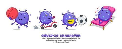 Blue Covid-19 Coronavirus active cartoon set vector