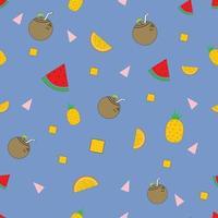 fundo de frutas estilo memphis vetor