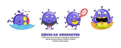 Blue Covid-19 Coronavirus cartoon active emoji design set vector