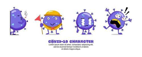 conjunto de emoji de dibujos animados de coronavirus azul vector