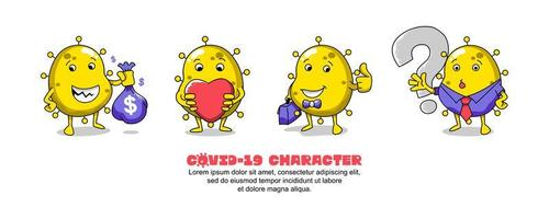Yellow Covid-19 Character Set