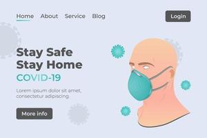 página de inicio del sitio web de coronavirus vector