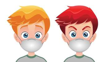 Boys wearing surgical mask  vector