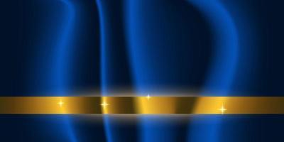 Blue silk texture with sparkling golden horizontal stripe vector