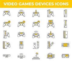 iconos de videojuegos y dispositivos blancos y amarillos