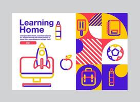 Vibrant Stroke Style Learning Home Education Template