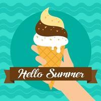 Hallo zomer en hand met ijs vector