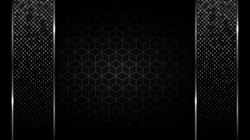 barras verticales brillantes sobre patrón de cubo negro vector