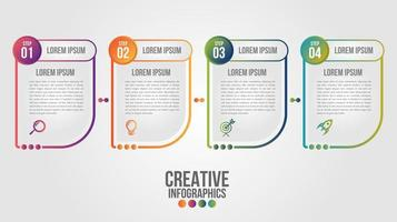 Infographic with 4 abstract shapes with gradient outlines