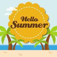 ciao distintivo estivo e spiaggia tropicale