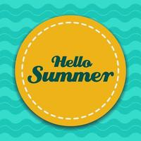 Hello summer sticker on wave design vector
