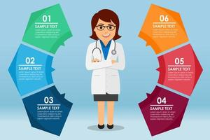 Woman doctor in colorful infographic vector