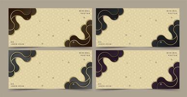 Banners with geometric textures and abstract retro waves vector