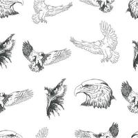 Seamless pattern with flying eagles and eagle heads