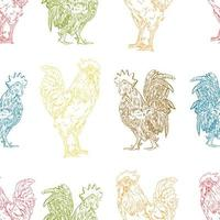 Colorful rooster seamless pattern vector