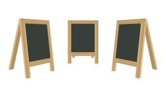 Blackboard for menu with wooden frame set vector