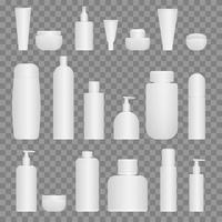 Cosmetic product bottle set vector