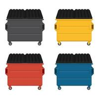 Set of colorful dumpsters with black lids
