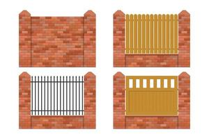 Brick fence set vector