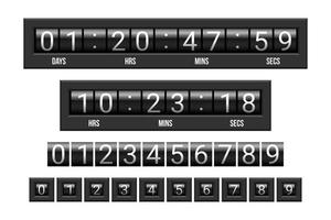 Glossy mechanical scoreboard countdown timer vector
