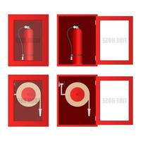 Fire hose and extinguisher cabinet set vector