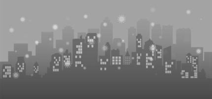 fond de paysage urbain gris avec des cellules virales