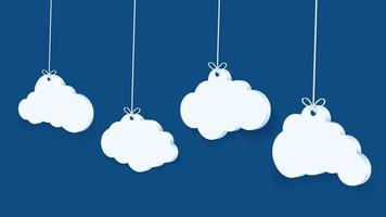 3D Clouds Hanging by Strings vector