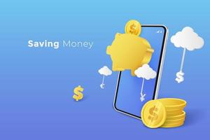 Saving Money in Piggy Bank with Smartphone